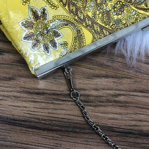 Bags - Yellow paisley clutch